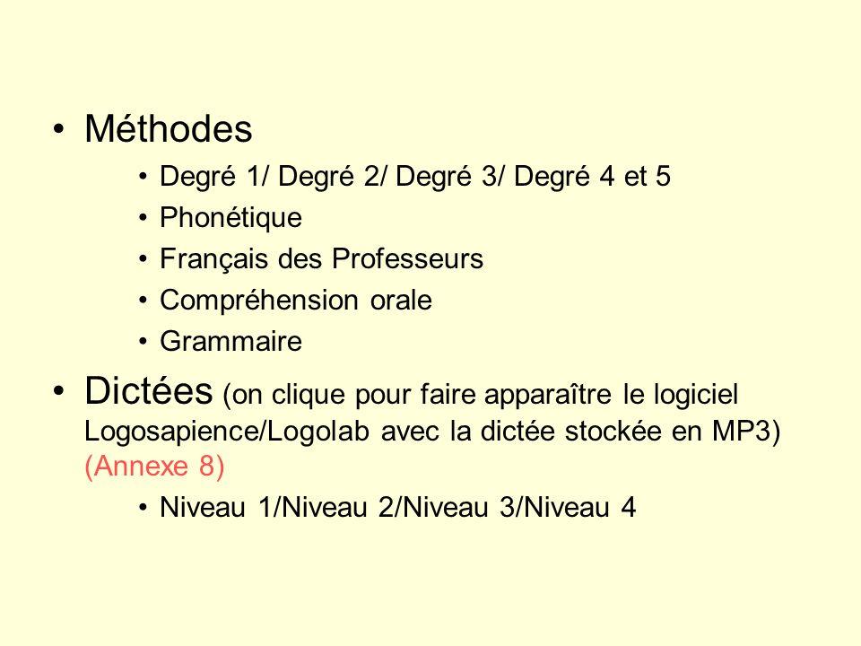 Méthodes Degré 1/ Degré 2/ Degré 3/ Degré 4 et 5. Phonétique. Français des Professeurs. Compréhension orale.