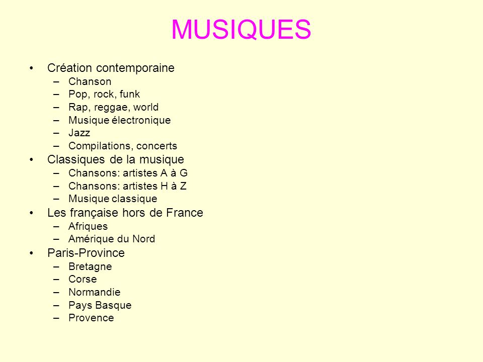 MUSIQUES Création contemporaine Classiques de la musique