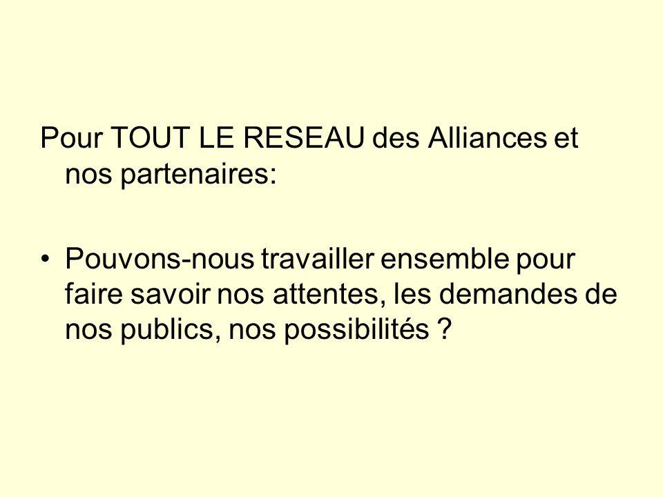 Pour TOUT LE RESEAU des Alliances et nos partenaires: