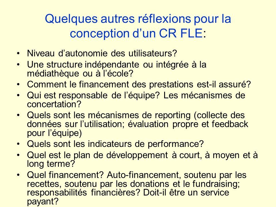 Quelques autres réflexions pour la conception d'un CR FLE: