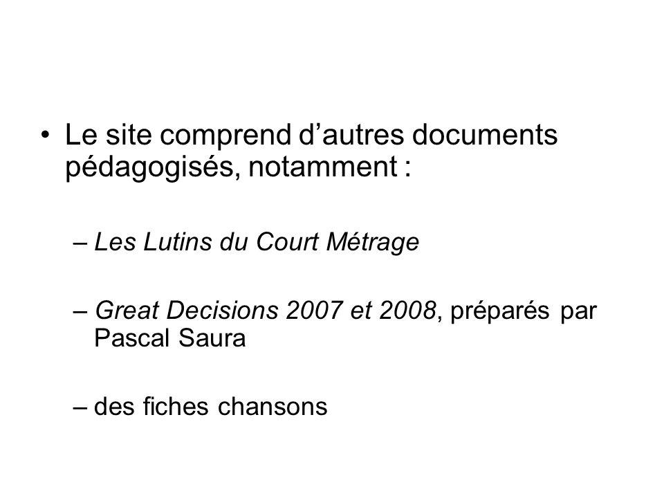 Le site comprend d'autres documents pédagogisés, notamment :