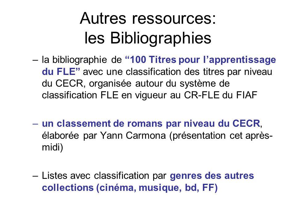 Autres ressources: les Bibliographies