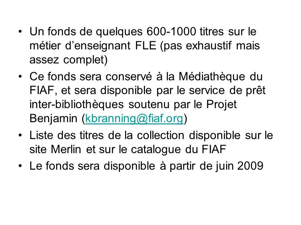 Un fonds de quelques 600-1000 titres sur le métier d'enseignant FLE (pas exhaustif mais assez complet)