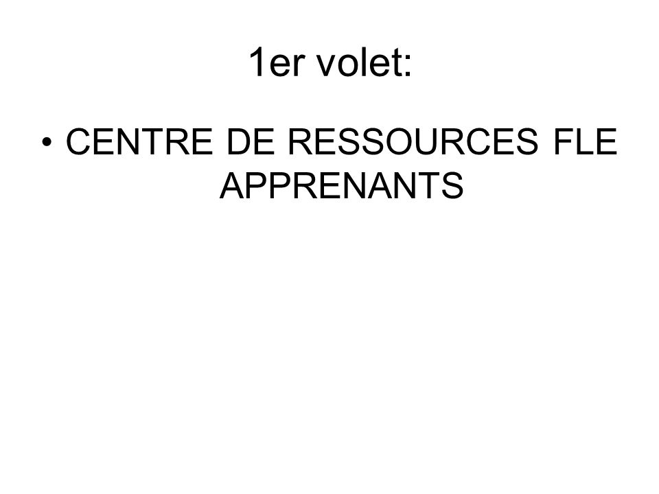 CENTRE DE RESSOURCES FLE APPRENANTS