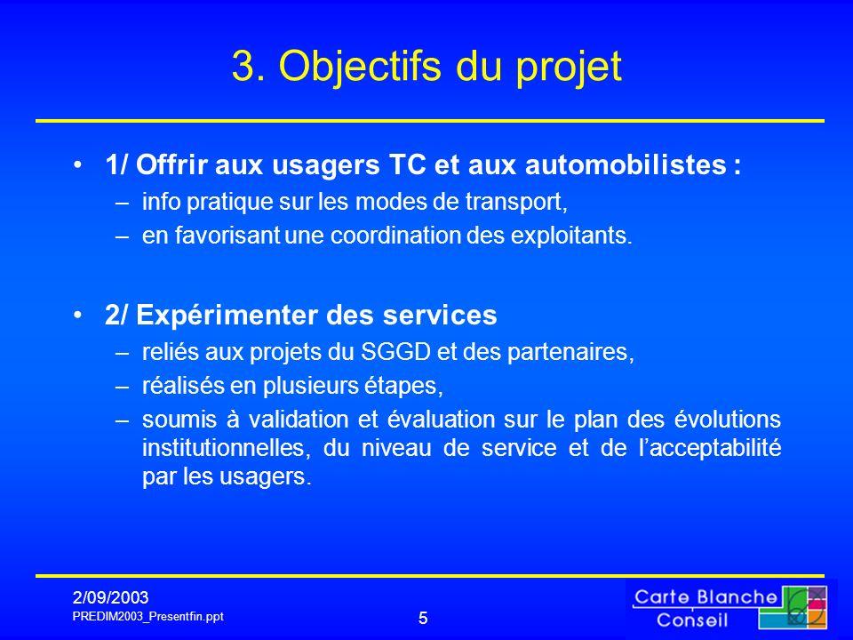 3. Objectifs du projet 1/ Offrir aux usagers TC et aux automobilistes : info pratique sur les modes de transport,