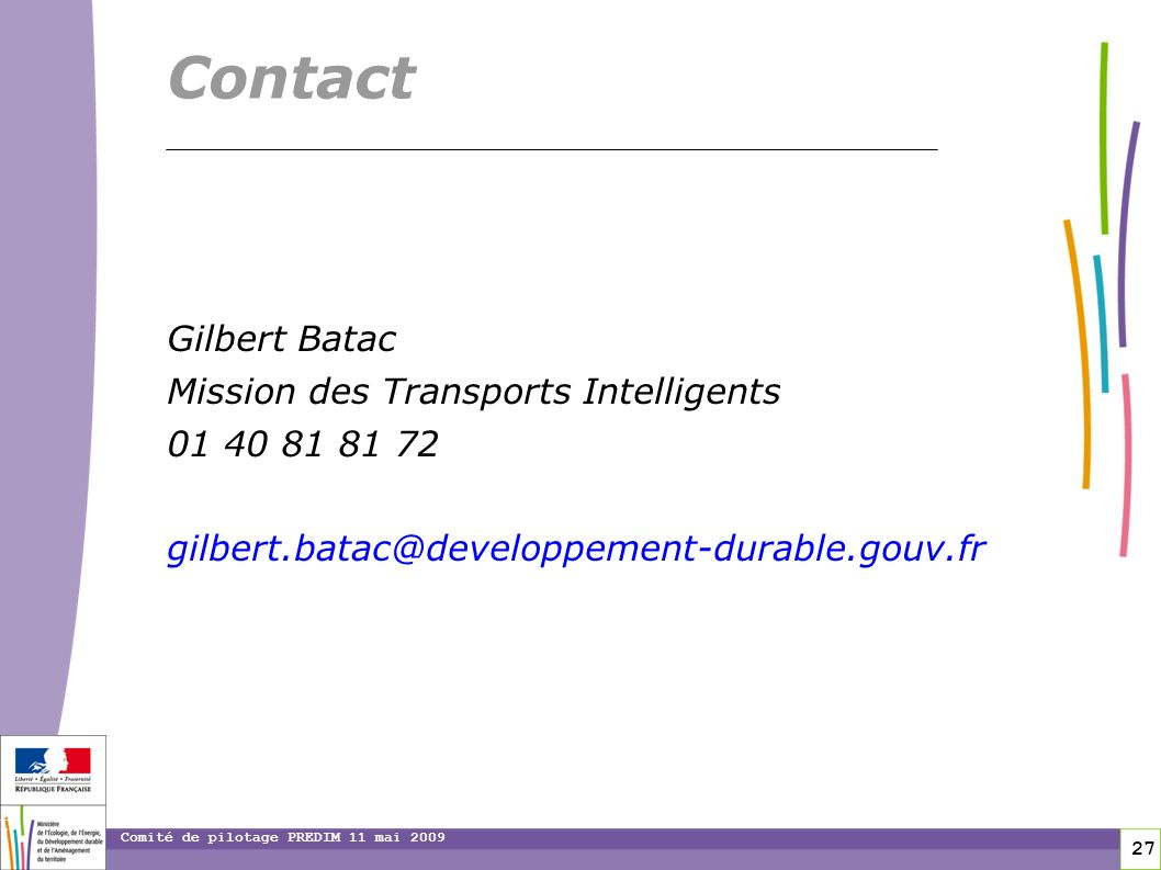 Contact Gilbert Batac Mission des Transports Intelligents