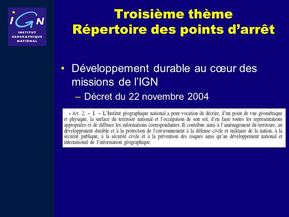 Troisième thème Répertoire des points d'arrêt