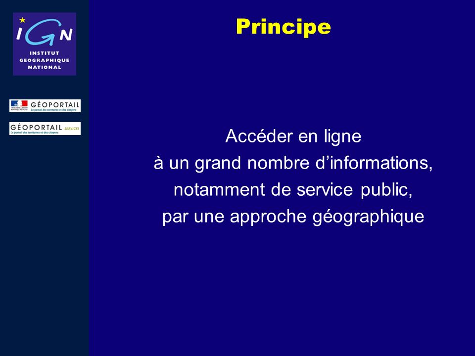 Principe Accéder en ligne à un grand nombre d'informations,