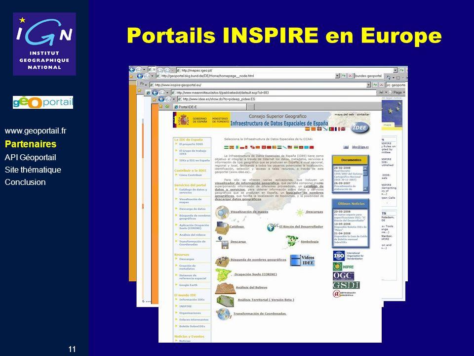 Portails INSPIRE en Europe