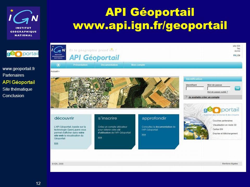API Géoportail www.api.ign.fr/geoportail