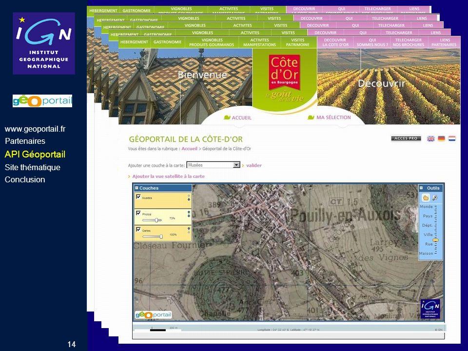 Tourisme en Côte d'Or API Géoportail www.geoportail.fr Partenaires