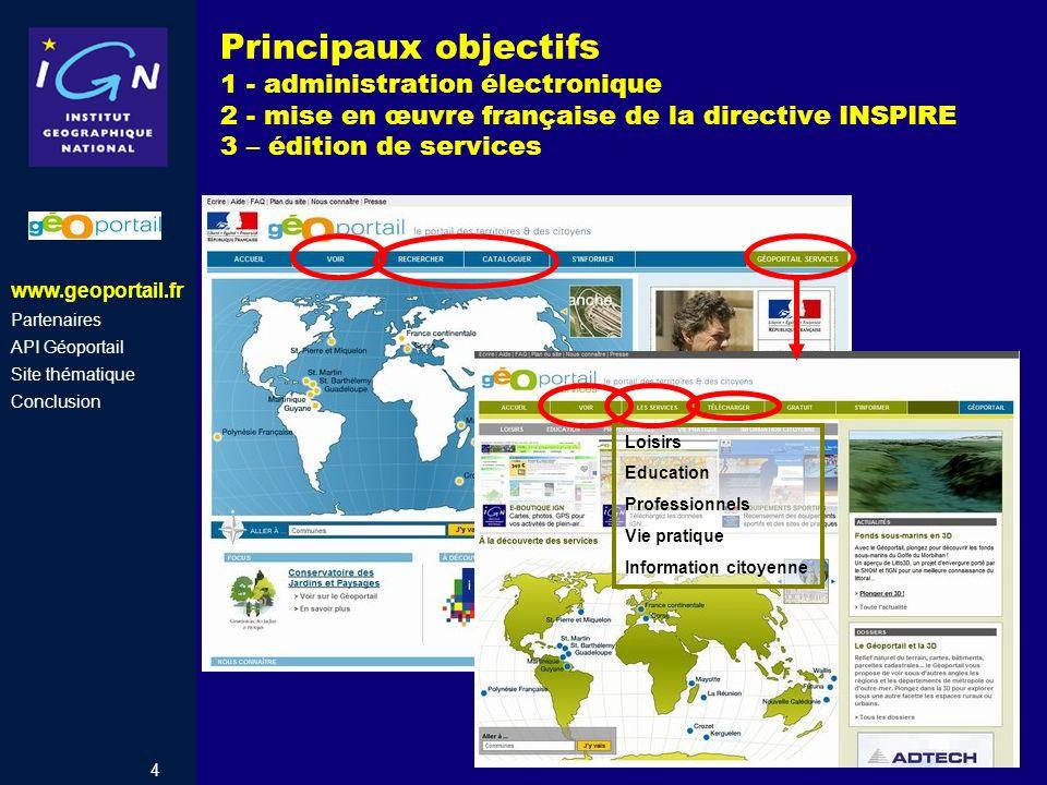 Principaux objectifs 1 - administration électronique 2 - mise en œuvre française de la directive INSPIRE 3 – édition de services