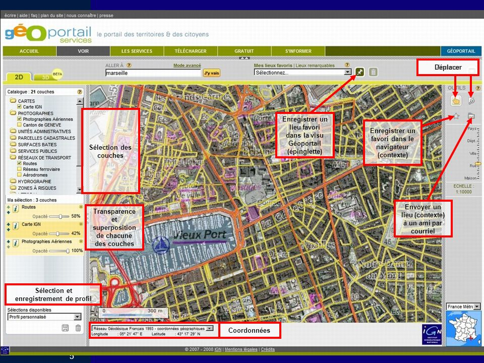 Au 15 mai 2008 Déplacer Zoomer Sélection des couches