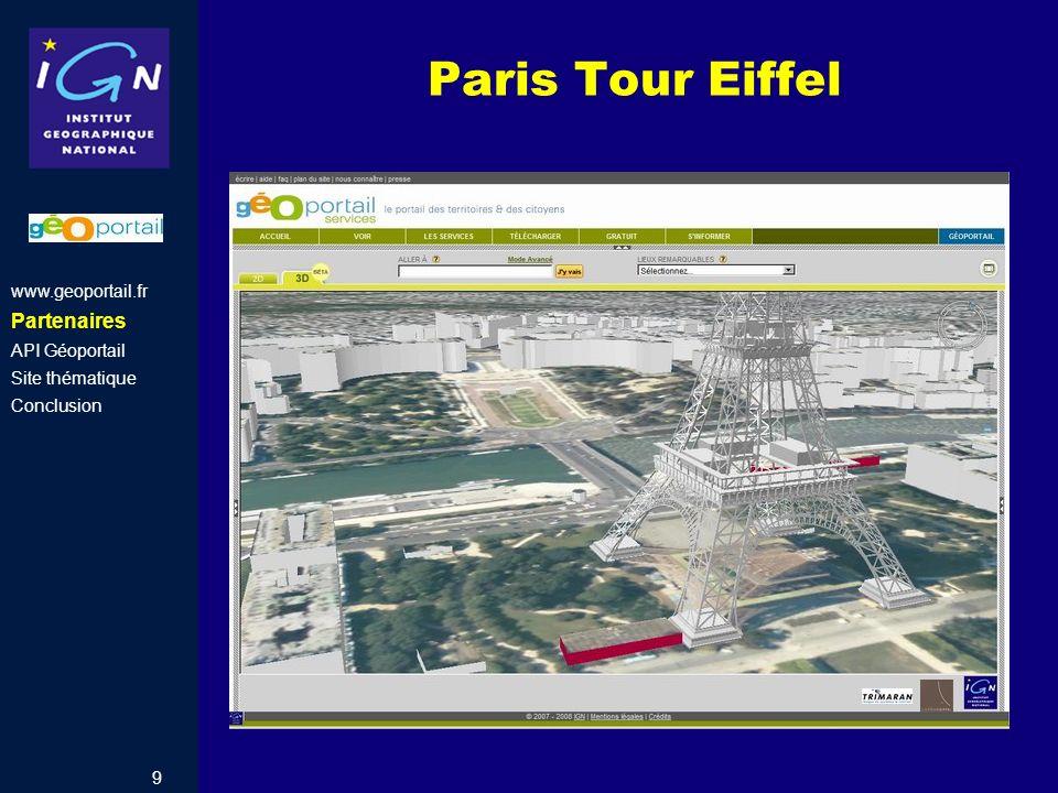 Paris Tour Eiffel Partenaires www.geoportail.fr API Géoportail