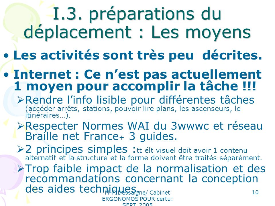 I.3. préparations du déplacement : Les moyens