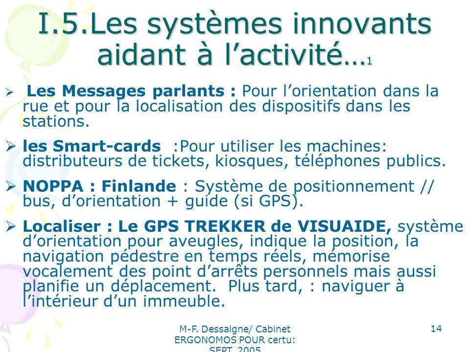 I.5.Les systèmes innovants aidant à l'activité…1