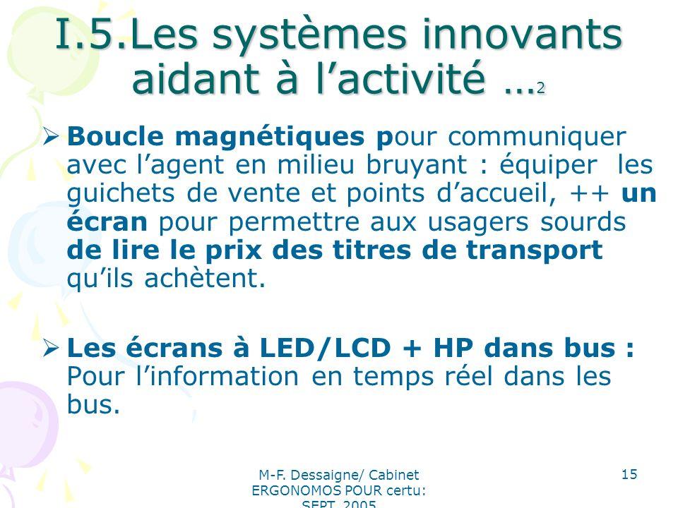 I.5.Les systèmes innovants aidant à l'activité …2