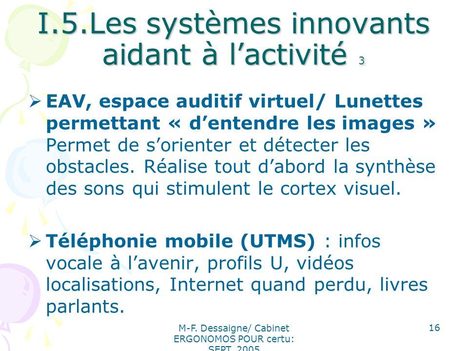 I.5.Les systèmes innovants aidant à l'activité 3