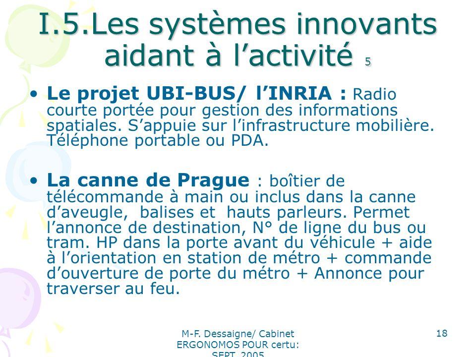 I.5.Les systèmes innovants aidant à l'activité 5