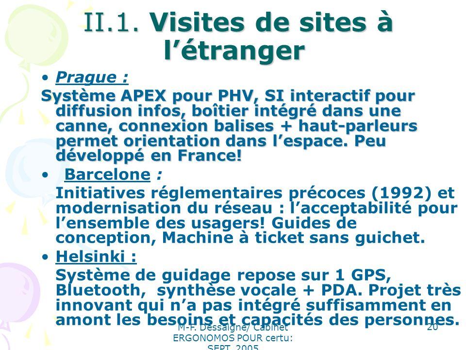 II.1. Visites de sites à l'étranger