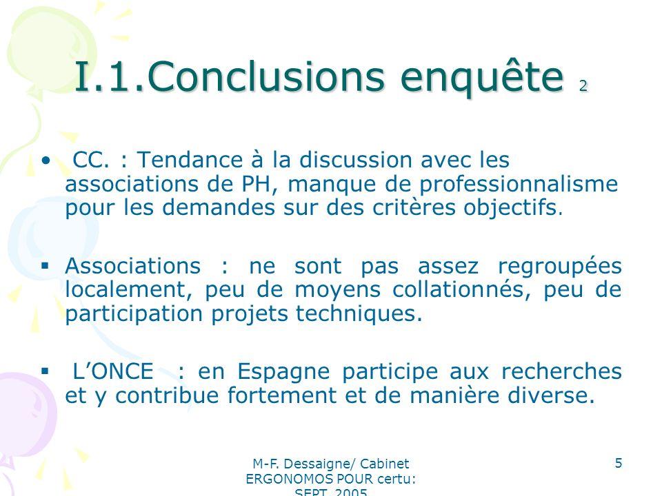 M-F. Dessaigne/ Cabinet ERGONOMOS POUR certu: SEPT. 2005