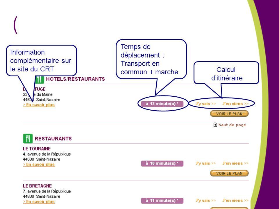 Temps de déplacement : Transport en commun + marche. Information complémentaire sur le site du CRT.