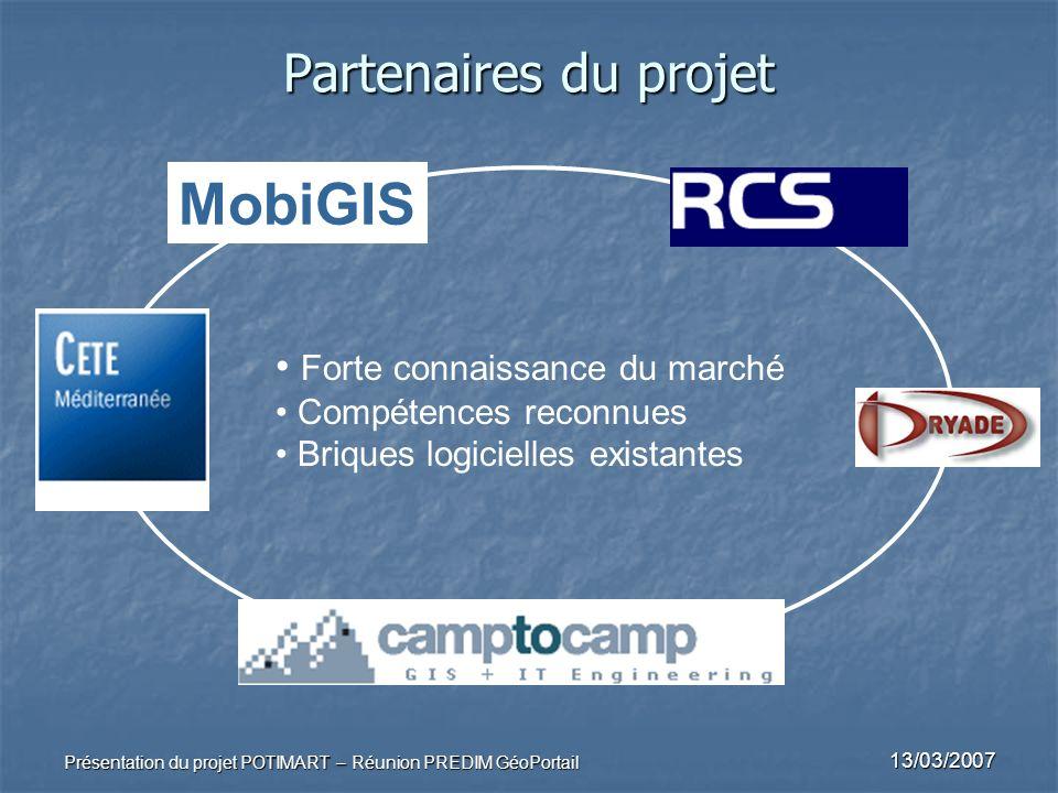 MobiGIS Partenaires du projet Forte connaissance du marché