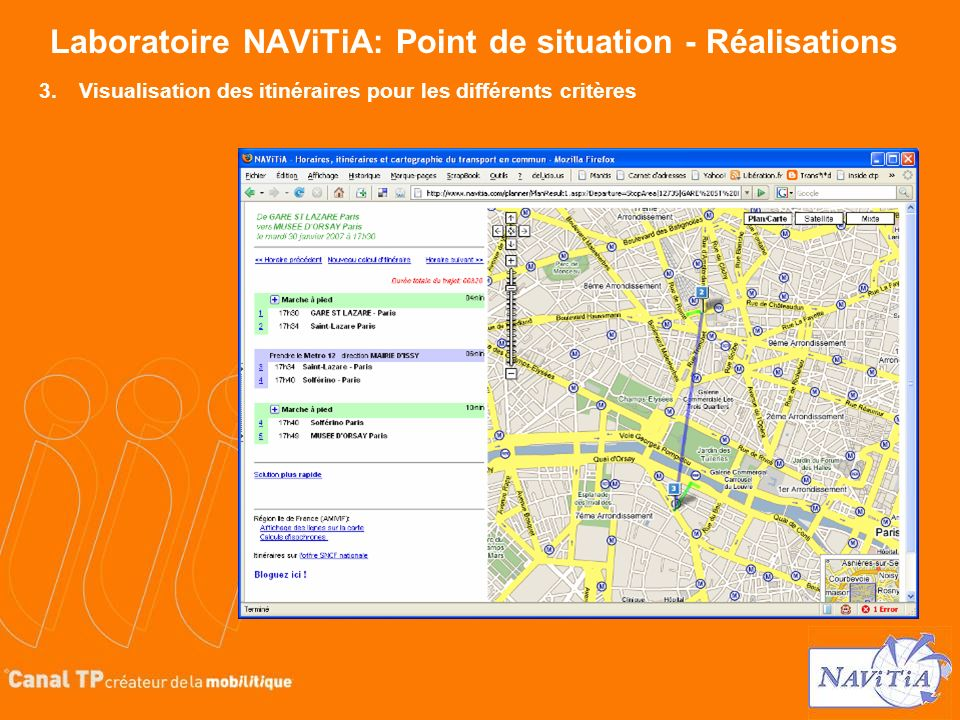 Laboratoire NAViTiA: Point de situation - Réalisations