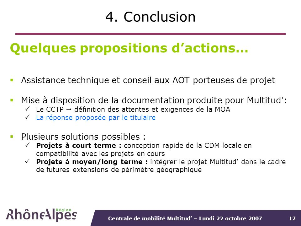4. Conclusion Quelques propositions d'actions…