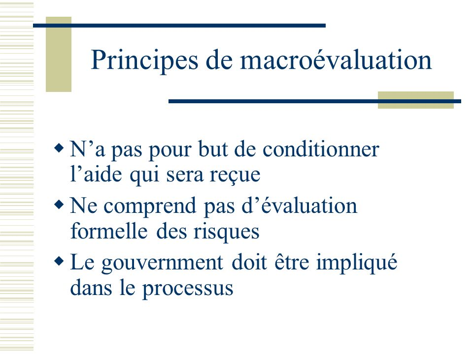 Principes de macroévaluation