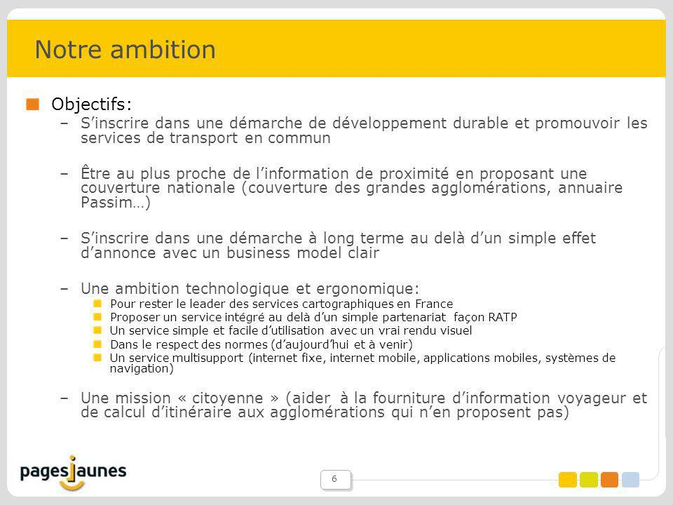 Notre ambition Objectifs: