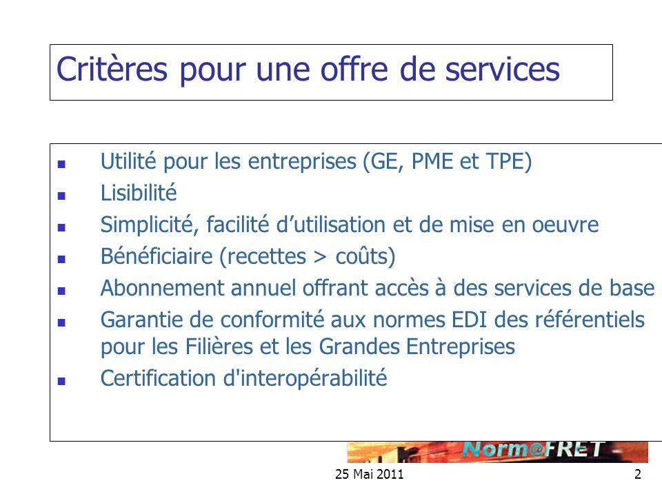Critères pour une offre de services