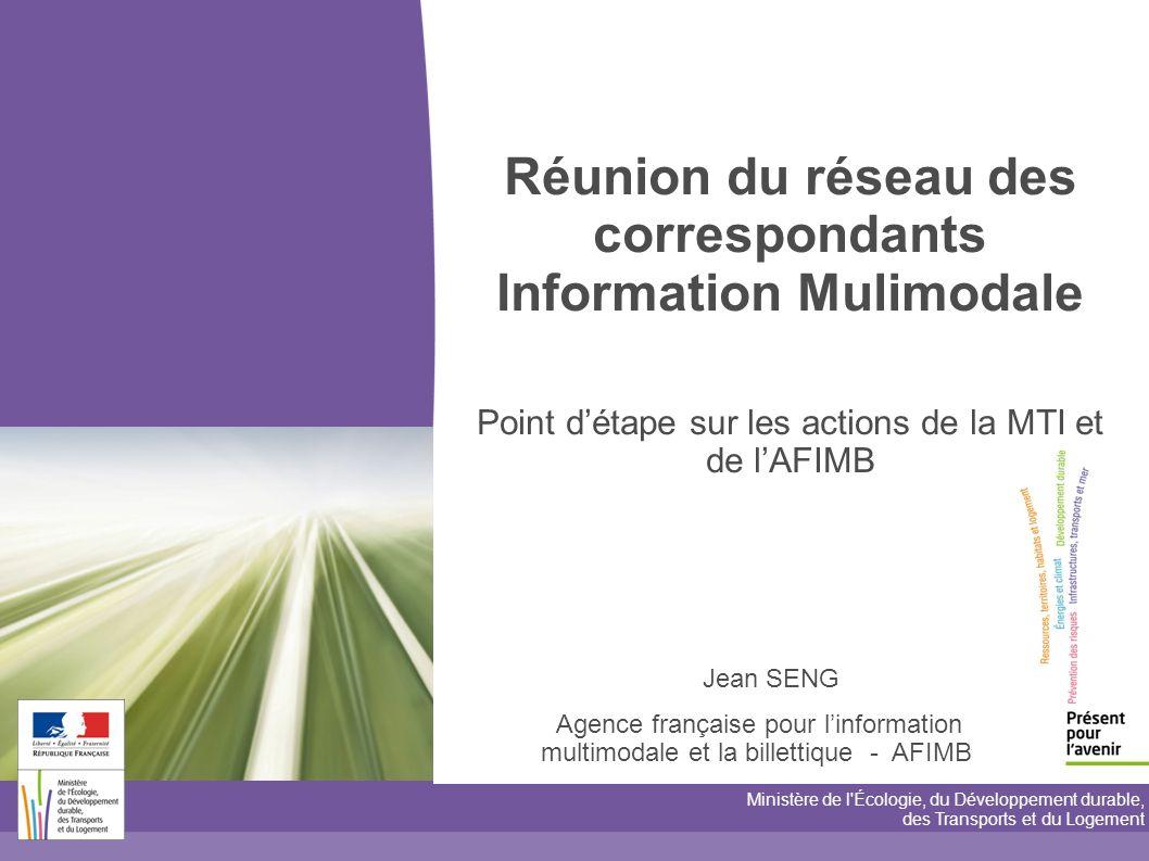toitototototoot Réunion du réseau des correspondants Information Mulimodale Point d'étape sur les actions de la MTI et de l'AFIMB.
