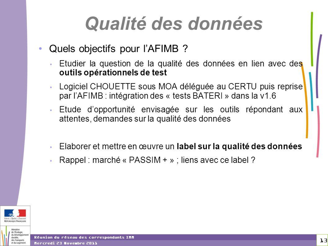 Qualité des données Quels objectifs pour l'AFIMB