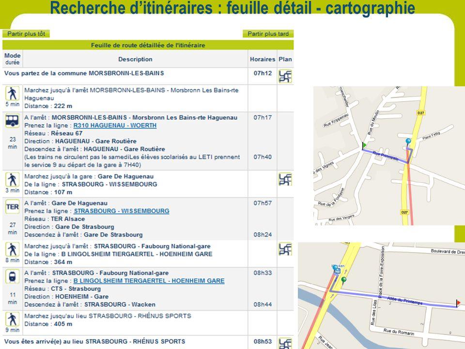 Recherche d'itinéraires : feuille détail - cartographie