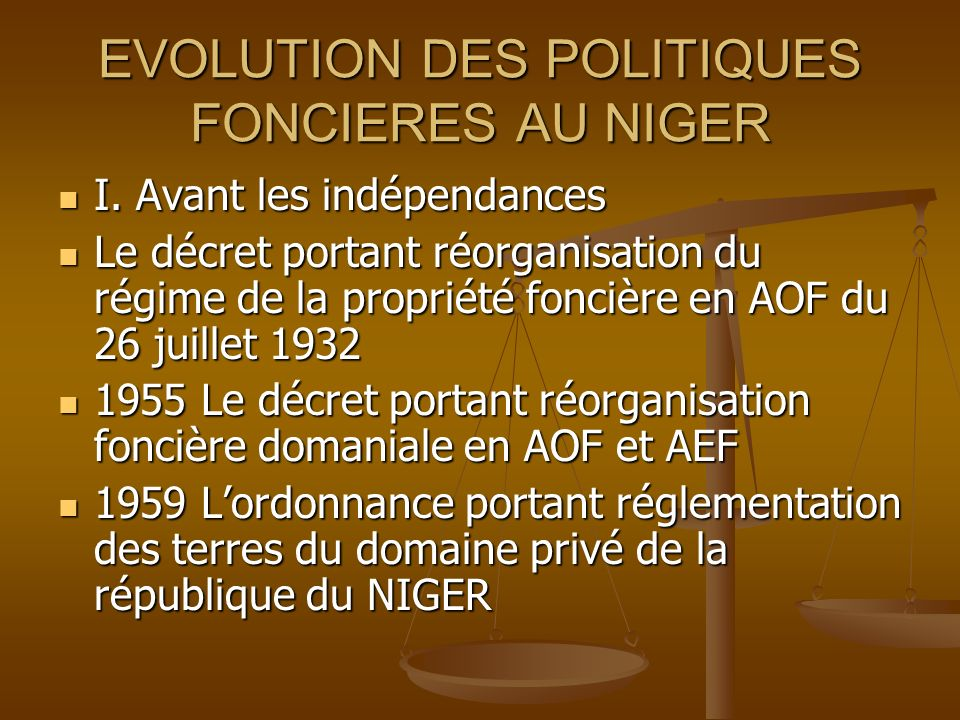 EVOLUTION DES POLITIQUES FONCIERES AU NIGER