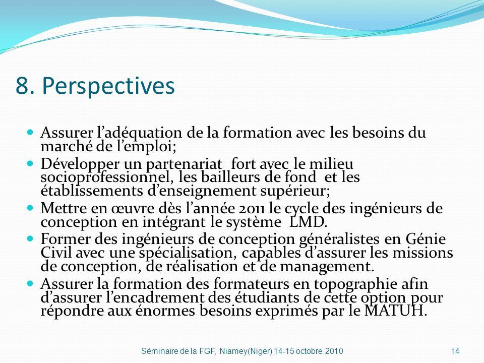 8. Perspectives Assurer l'adéquation de la formation avec les besoins du marché de l'emploi;
