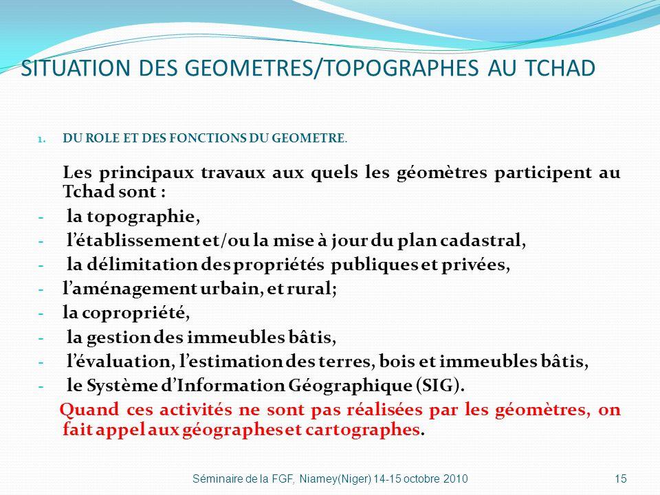 SITUATION DES GEOMETRES/TOPOGRAPHES AU TCHAD