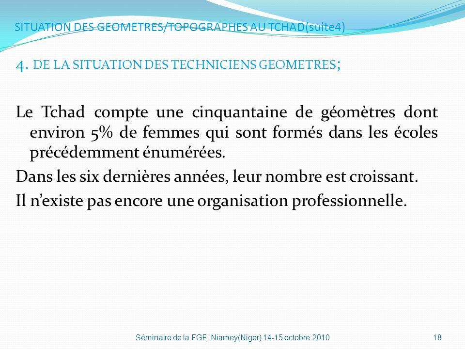 SITUATION DES GEOMETRES/TOPOGRAPHES AU TCHAD(suite4)