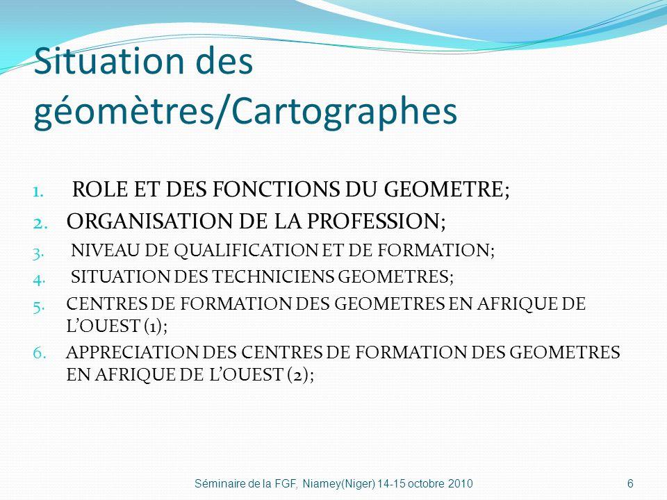 Situation des géomètres/Cartographes