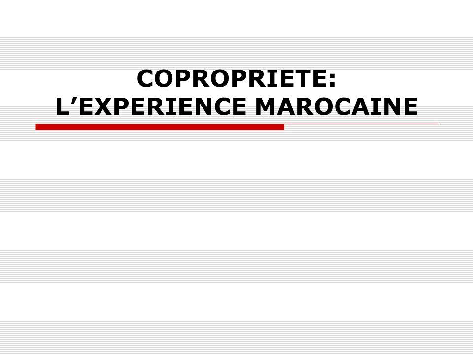 COPROPRIETE: L'EXPERIENCE MAROCAINE