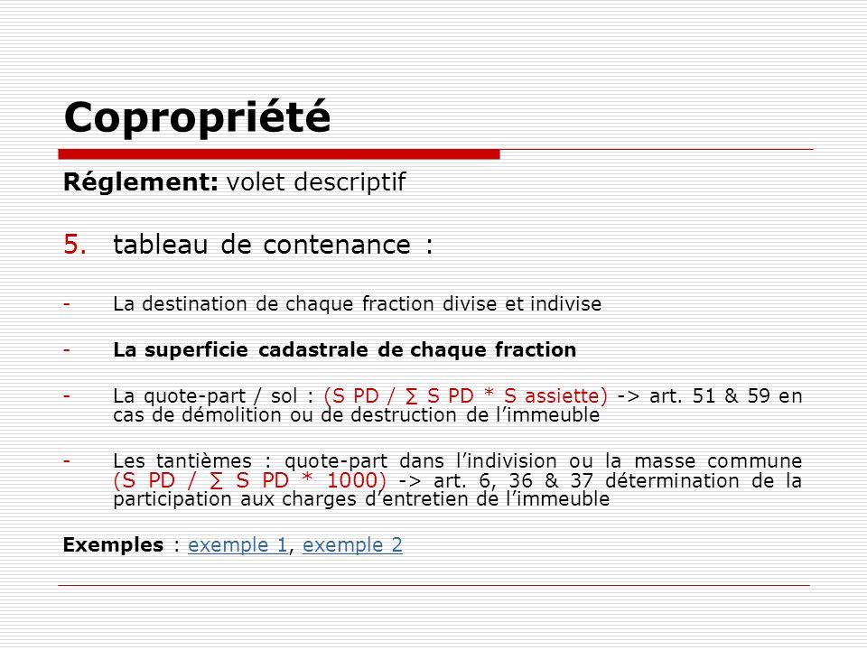 Copropriété tableau de contenance : Réglement: volet descriptif