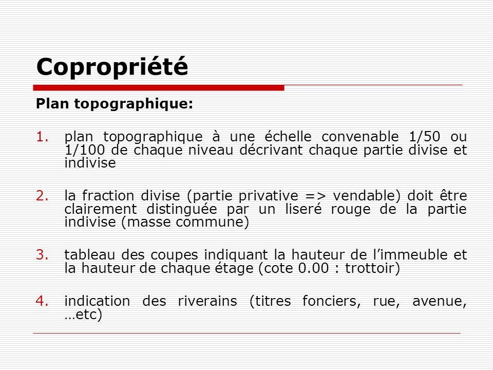 Copropriété Plan topographique: