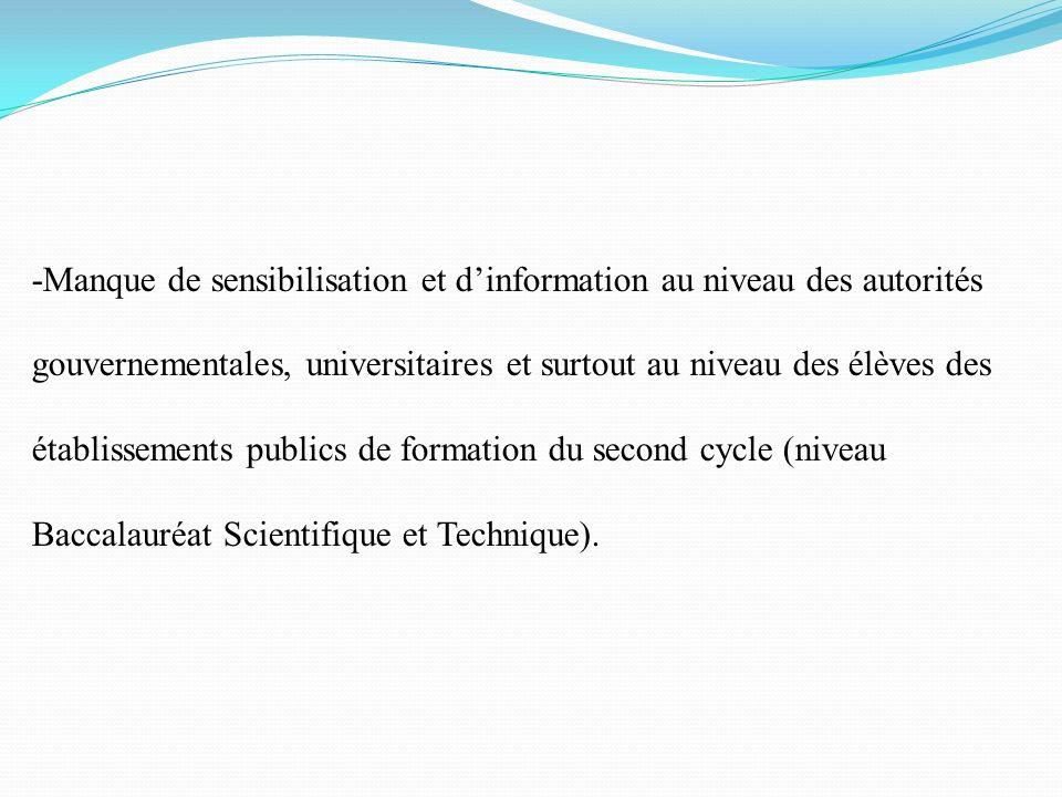-Manque de sensibilisation et d'information au niveau des autorités gouvernementales, universitaires et surtout au niveau des élèves des établissements publics de formation du second cycle (niveau Baccalauréat Scientifique et Technique).