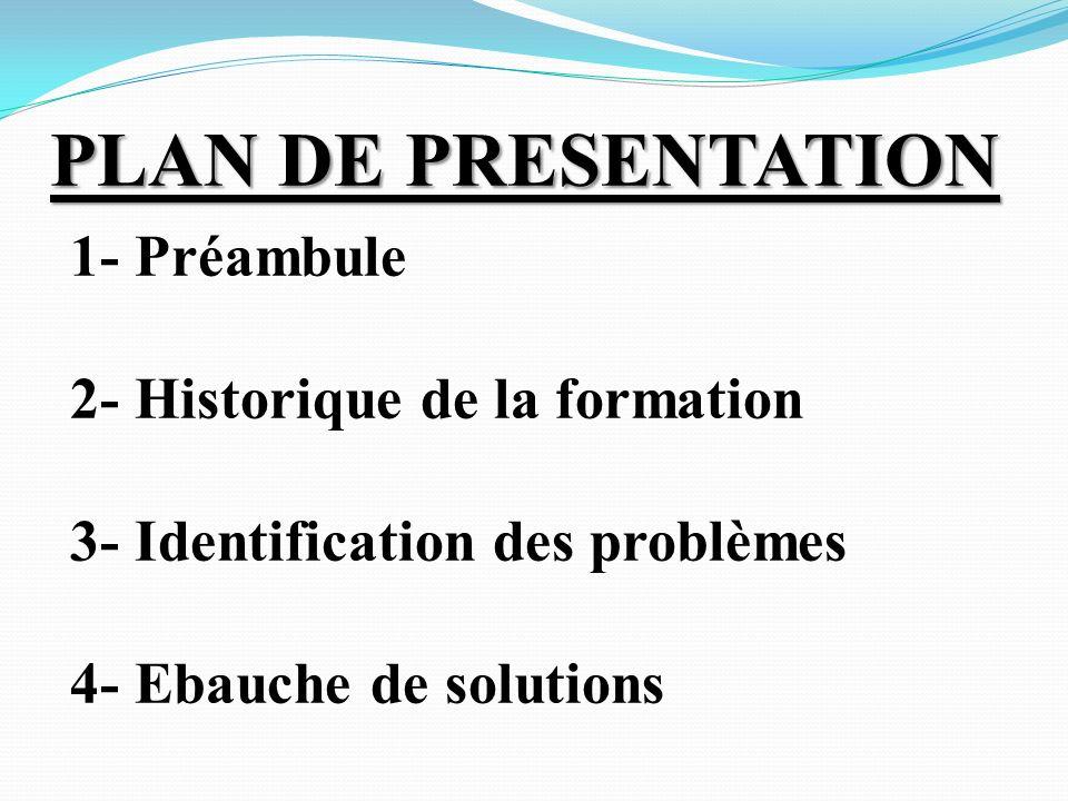 PLAN DE PRESENTATION 1- Préambule 2- Historique de la formation