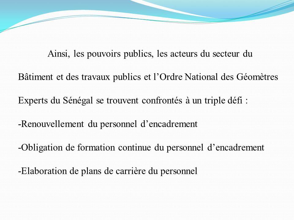 Ainsi, les pouvoirs publics, les acteurs du secteur du Bâtiment et des travaux publics et l'Ordre National des Géomètres Experts du Sénégal se trouvent confrontés à un triple défi :