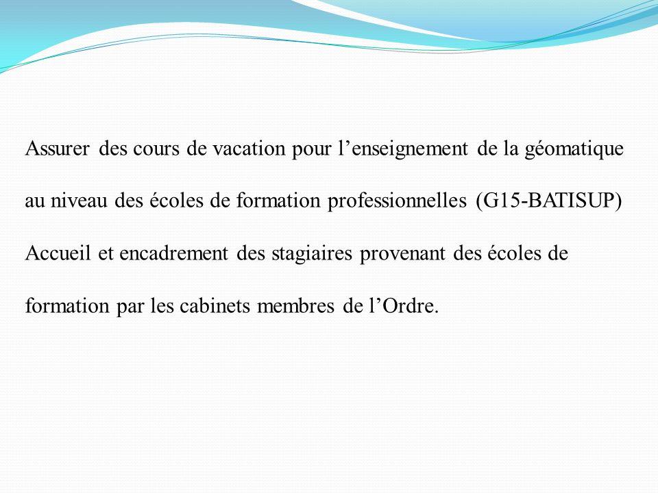Assurer des cours de vacation pour l'enseignement de la géomatique au niveau des écoles de formation professionnelles (G15-BATISUP)