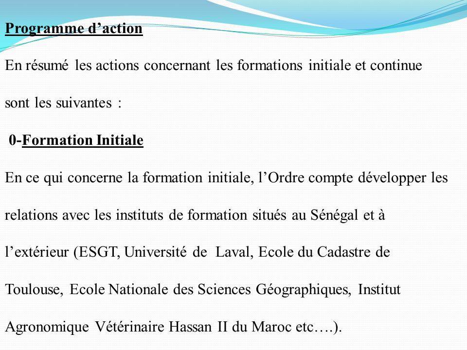 Programme d'action En résumé les actions concernant les formations initiale et continue sont les suivantes :