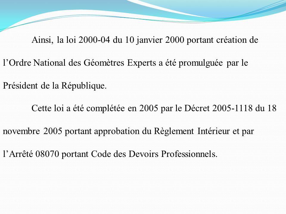 Ainsi, la loi 2000-04 du 10 janvier 2000 portant création de l'Ordre National des Géomètres Experts a été promulguée par le Président de la République.