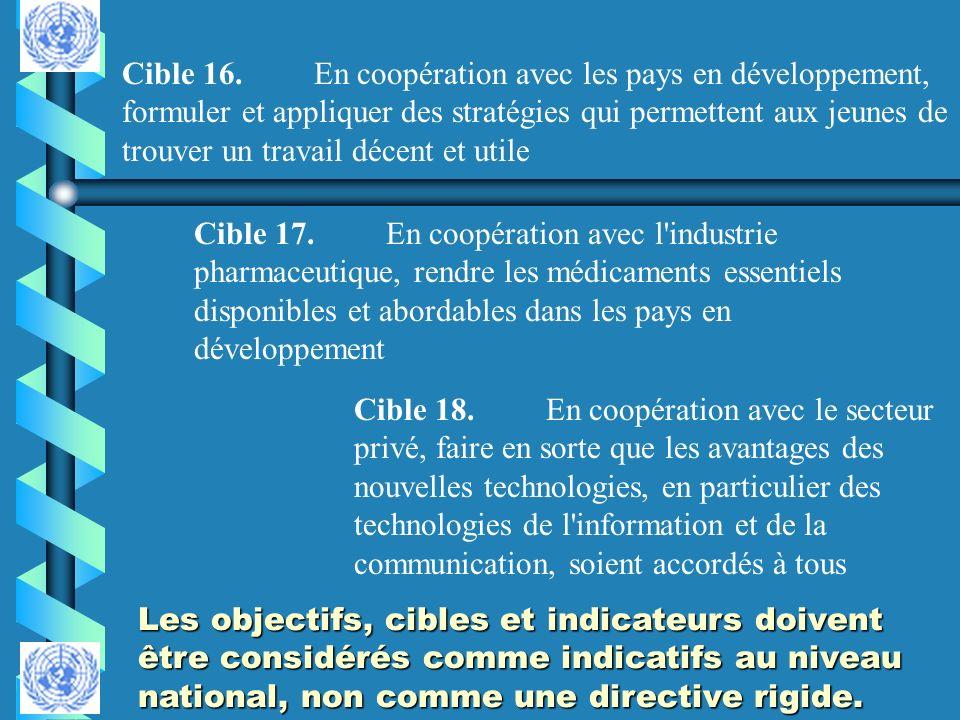 Cible 16. En coopération avec les pays en développement, formuler et appliquer des stratégies qui permettent aux jeunes de trouver un travail décent et utile